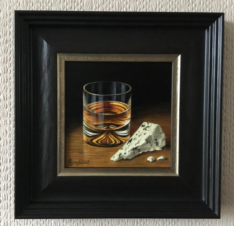Whisky and Blue Cheese - contemporary realism still life painting - Realist Painting by Anne Songhurst