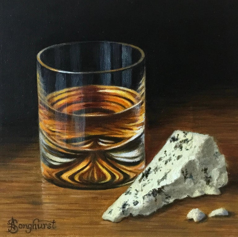 Whisky and Blue Cheese - contemporary realism still life painting - Painting by Anne Songhurst