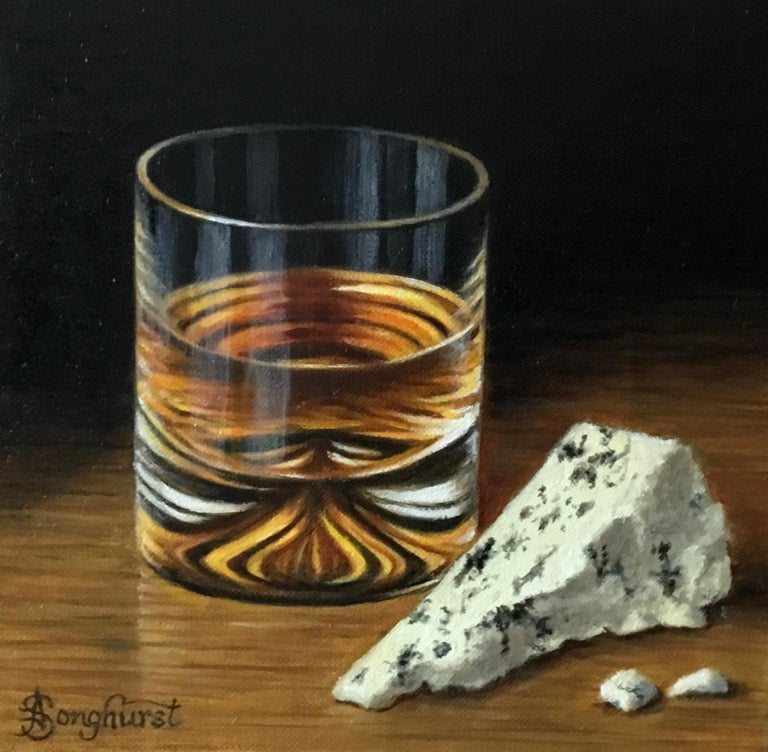Anne Songhurst Still-Life Painting - Whisky and Blue Cheese - contemporary realism still life painting