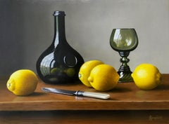 Wine Bottle with Lemons - contemporary realism still life painting