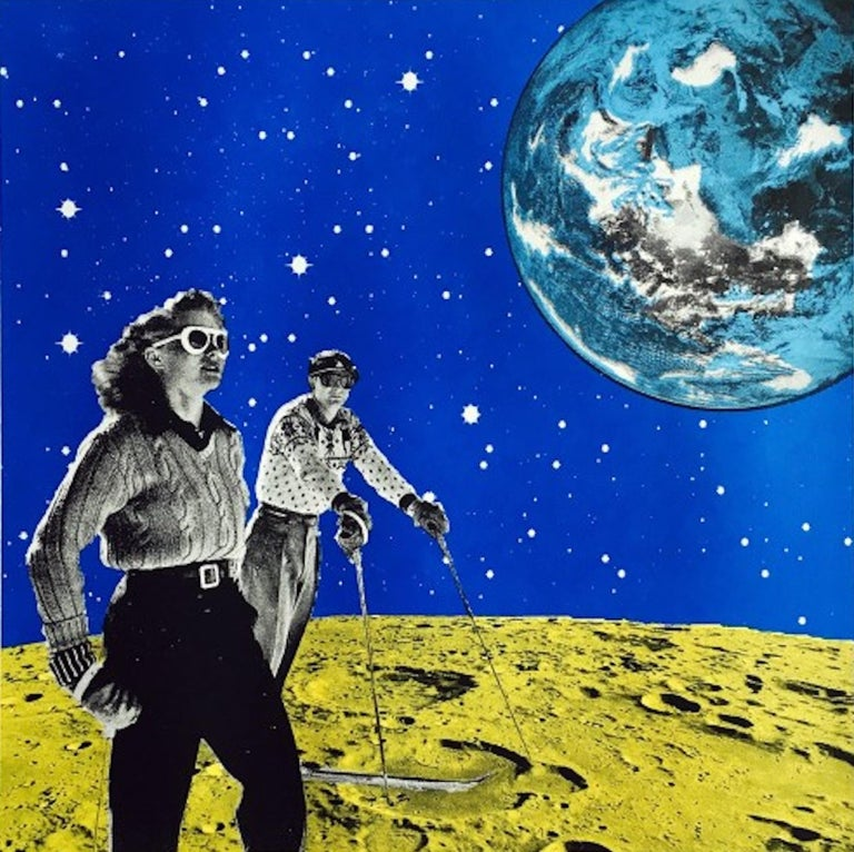 Anne Storno, Space Hiking, Limited Edition Print, Space Print, Affordable Art - Blue Figurative Print by Anne Storno