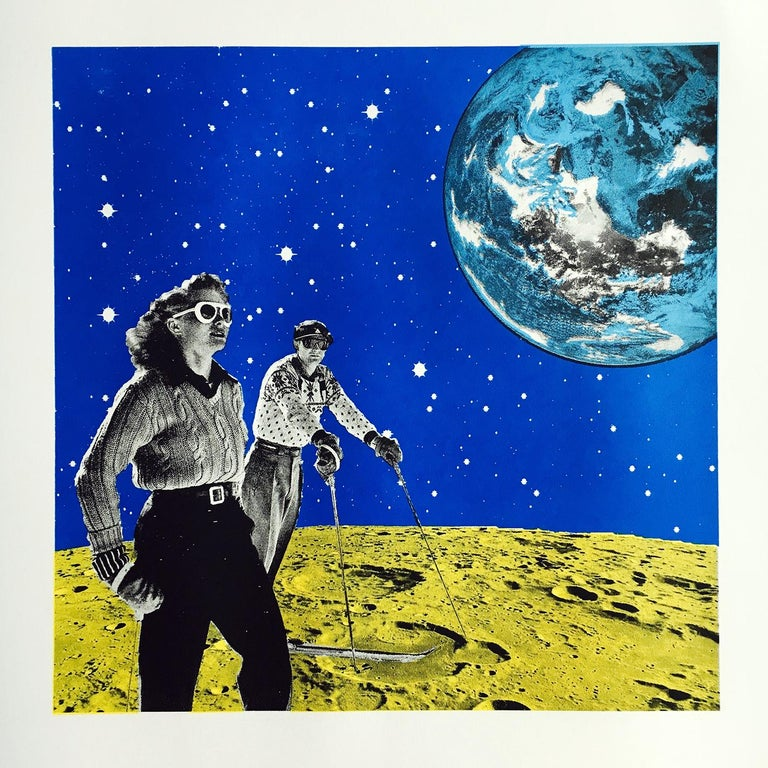 Space Hiking, Limited Edition Print, Anne Storno, Space Print, Sports, Galaxy - Blue Figurative Print by Anne Storno