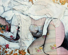 Lea 2, sensual fabric painting of sleeping woman, by Anne Valérie Dupond