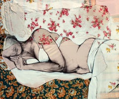 Lea 4, sensual fabric painting of sleeping woman, by Anne Valérie Dupond