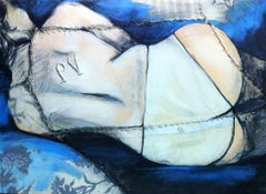 Petite Pauline, female nude fabric painting with blue, by Anne Valérie Dupond