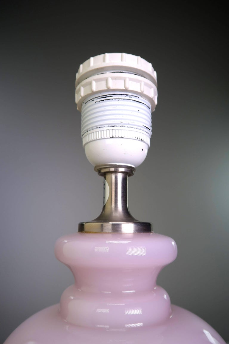 Mid-Century Modern Anne von Halling-Koch for Royal Copenhagen and Holmegaard Rose Glass Lamp, 1980s For Sale