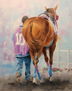 "Anne Wolff, ""#10"", Racing Equine Oil Painting on Canvas, 2019"
