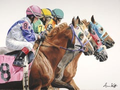 "Anne Wolff, ""And They're Off"", Equine Racing Oil Painting on Canvas, 2018"