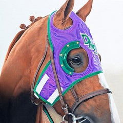 "Anne Wolff, ""California Chrome"", Equine Racing Portrait Oil on Canvas, 2018"
