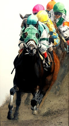"Anne Wolff, ""Clubhouse Turn"", Equine Racing Oil Painting on Canvas, 2018"