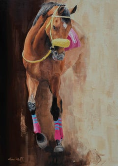 "Anne Wolff, ""In the Sunlight"", Racing Equine Oil Painting on Canvas, 2019"
