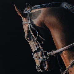 "Anne Wolff, ""Morning Exercise"", Photorealist Equine Portrait Oil on Canvas, 2019"