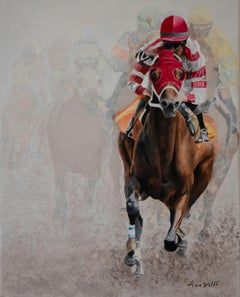 "Anne Wolff, ""Out of the Fog"", Equine Racing Oil Painting on Canvas, 2019"