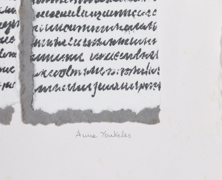 Script - Gray Abstract Print by Anne Youkeles