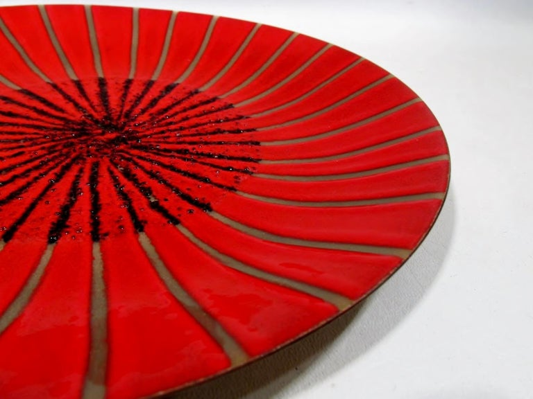 American Annemarie Davidson Abstract Starburst Enamel on Copper Charger For Sale