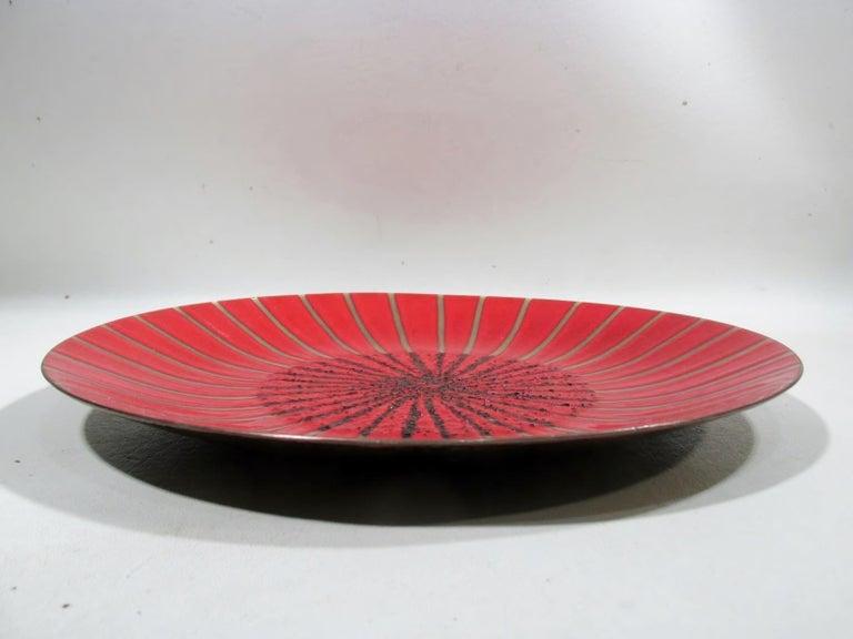 Enameled Annemarie Davidson Abstract Starburst Enamel on Copper Charger For Sale