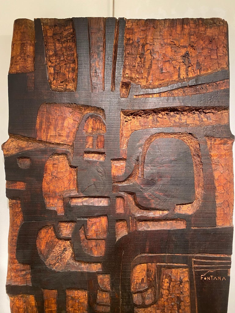 Mid-Century Modern Annemie Fontana Wood Panel Sculpture, 1970s For Sale