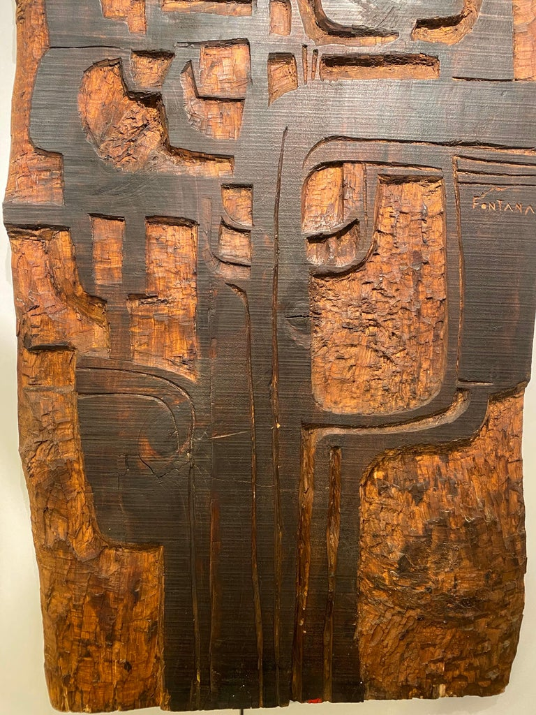 Swiss Annemie Fontana Wood Panel Sculpture, 1970s For Sale