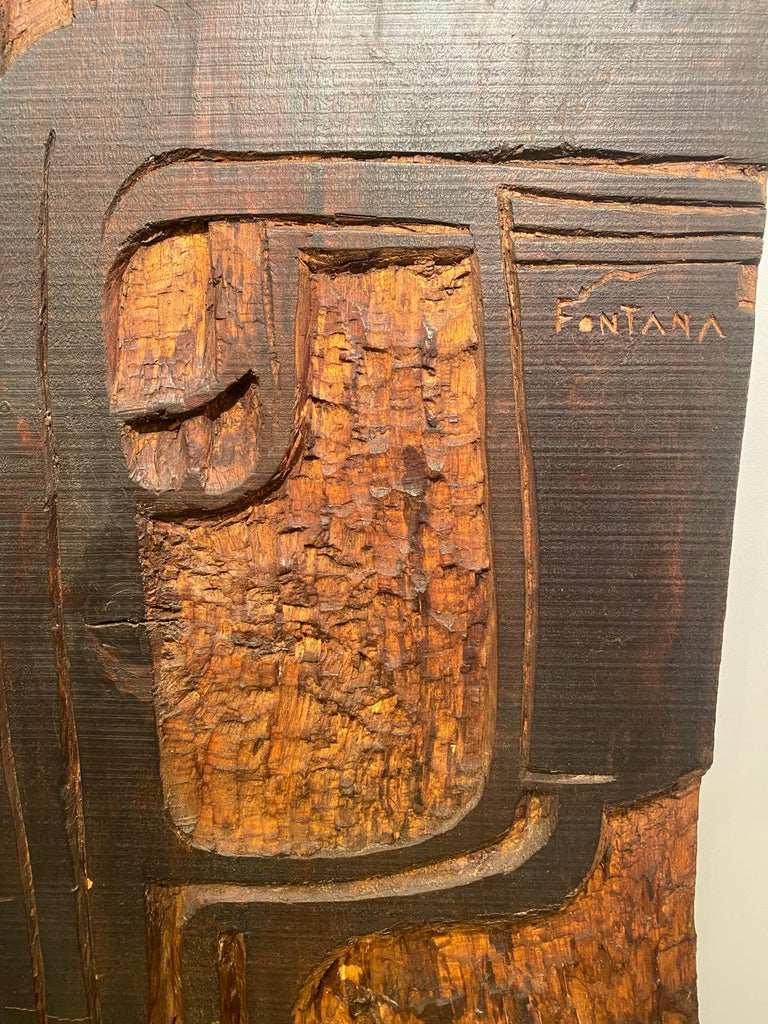 Annemie Fontana Wood Panel Sculpture, 1970s In Good Condition For Sale In Saint Ouen, FR