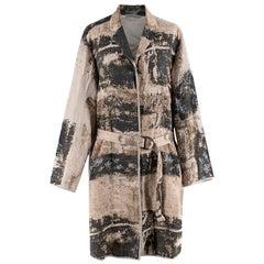 Annette Gortz Beige & Grey Print  Oversized Belted Coat - Size XL