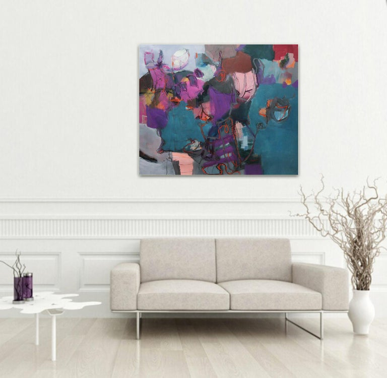 Connections - Large Abstract landscape contemporary  floral painting - Painting by Annette Jellinghaus