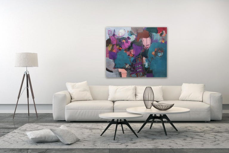 Connections - Large Abstract landscape contemporary  floral painting For Sale 1