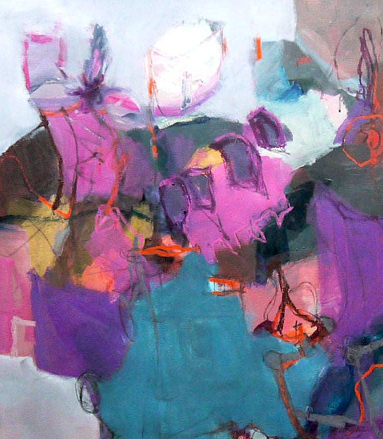 Connections - Large Abstract landscape contemporary  floral painting For Sale 2