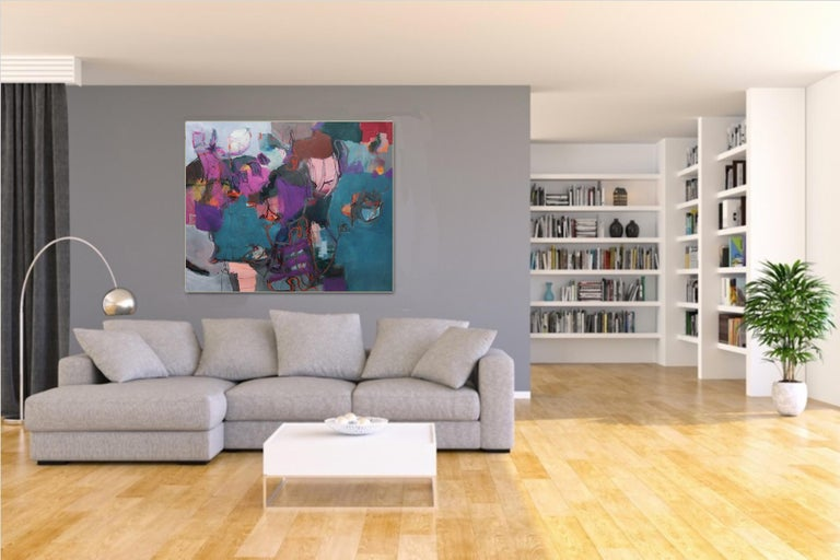 Connections - Large Abstract landscape contemporary  floral painting For Sale 3