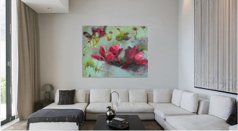 Flowers by Annette Jellinghaus - Abstract contemporary floral landscape painting For Sale 4