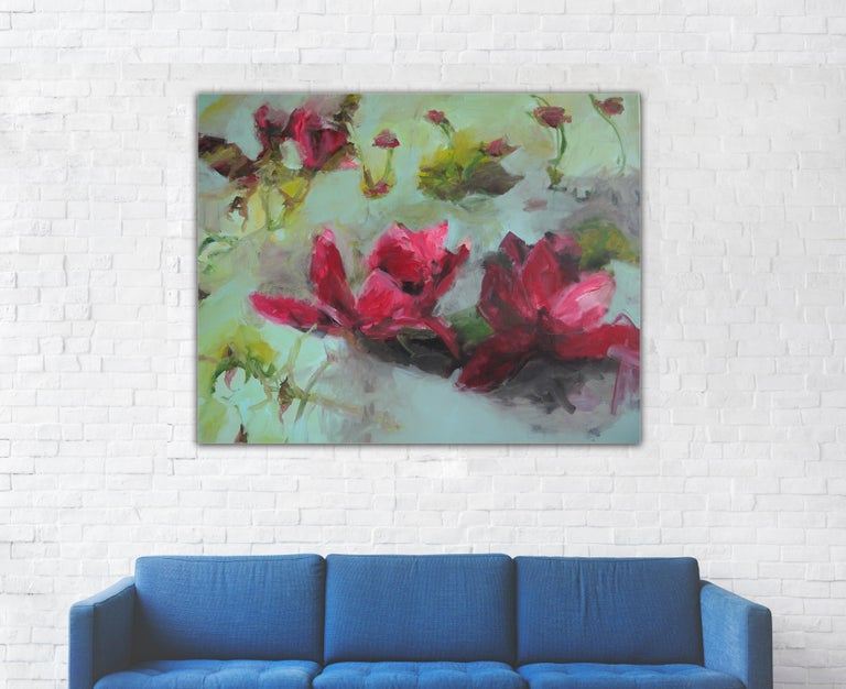 Flowers by Annette Jellinghaus - Abstract contemporary floral landscape painting For Sale 3