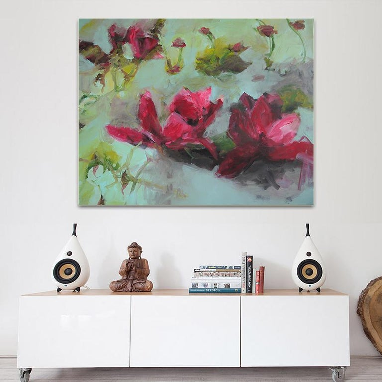 Flowers by Annette Jellinghaus - Abstract contemporary floral landscape painting For Sale 1