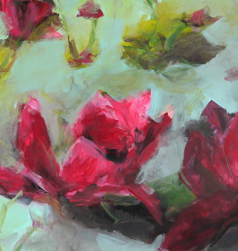 Flowers by Annette Jellinghaus - Abstract contemporary floral landscape painting For Sale 2