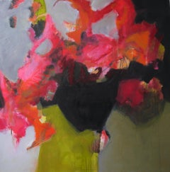 Happy Floating - Abstract landscape / floral painting with pink, green, black