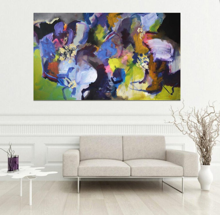 Memories of Summer - Large Abstract landscape contemporary  floral painting - Painting by Annette Jellinghaus