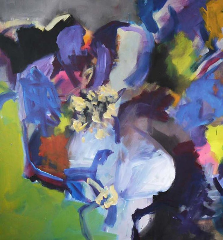 Memories of Summer - Large Abstract landscape contemporary  floral painting - Gray Interior Painting by Annette Jellinghaus