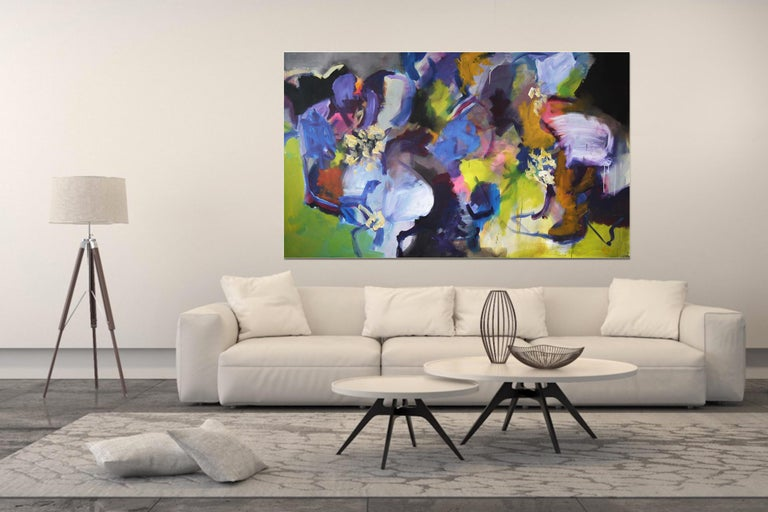 Beautifully large abstract painting by German artist Annette Jellinghaus. This original and one-of-a-kind artwork, is filled with color, vibrancy and positive energy.  It is a contemporary piece, full of details. It is 200 cm wide, so please measure