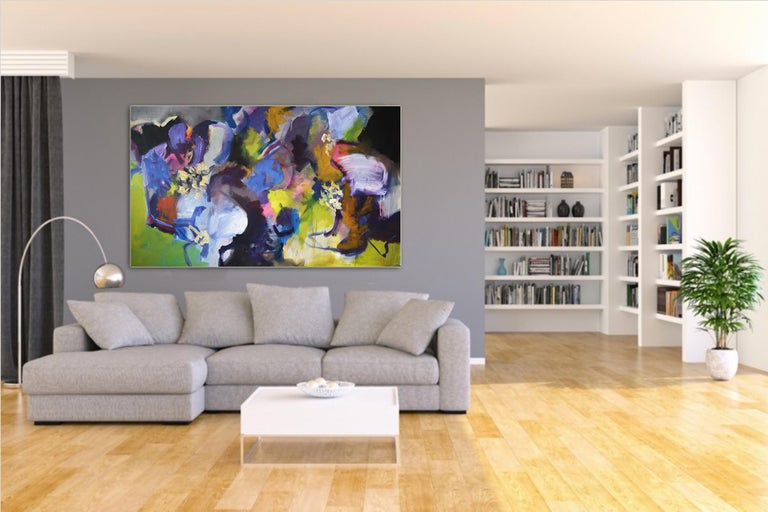 Memories of Summer - Large Abstract landscape contemporary  floral painting For Sale 1