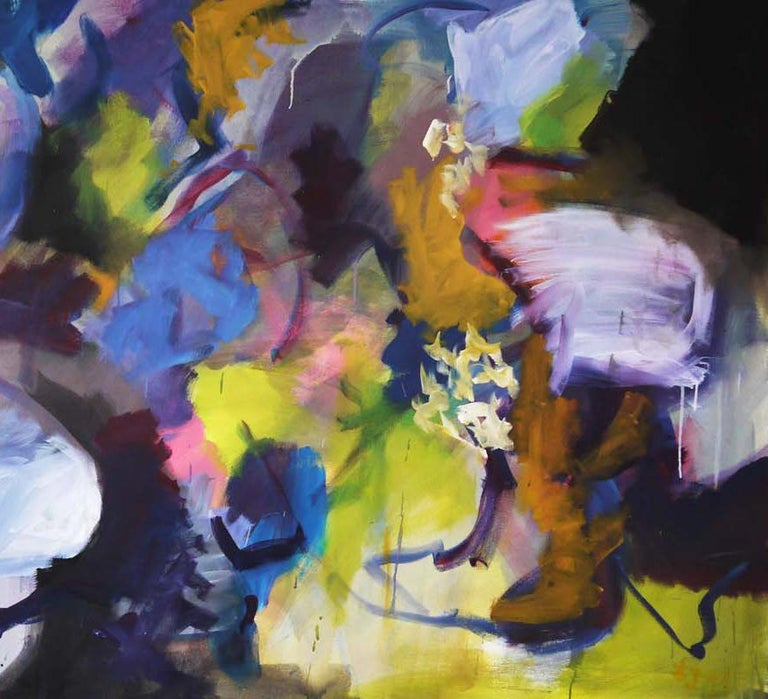 Memories of Summer - Large Abstract landscape contemporary  floral painting For Sale 2