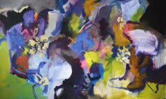 Memories of Summer - Large Abstract landscape contemporary  floral painting