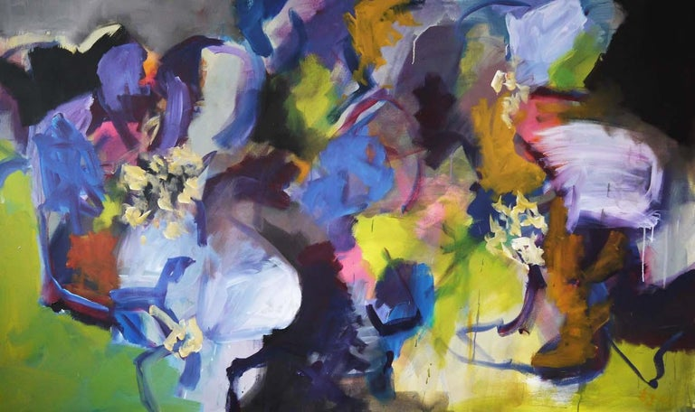 Annette Jellinghaus Interior Painting - Memories of Summer - Large Abstract landscape contemporary  floral painting