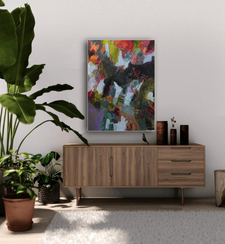 Nature's Depth by Annette Jellinghaus - Abstract contemporary floral landscape For Sale 1
