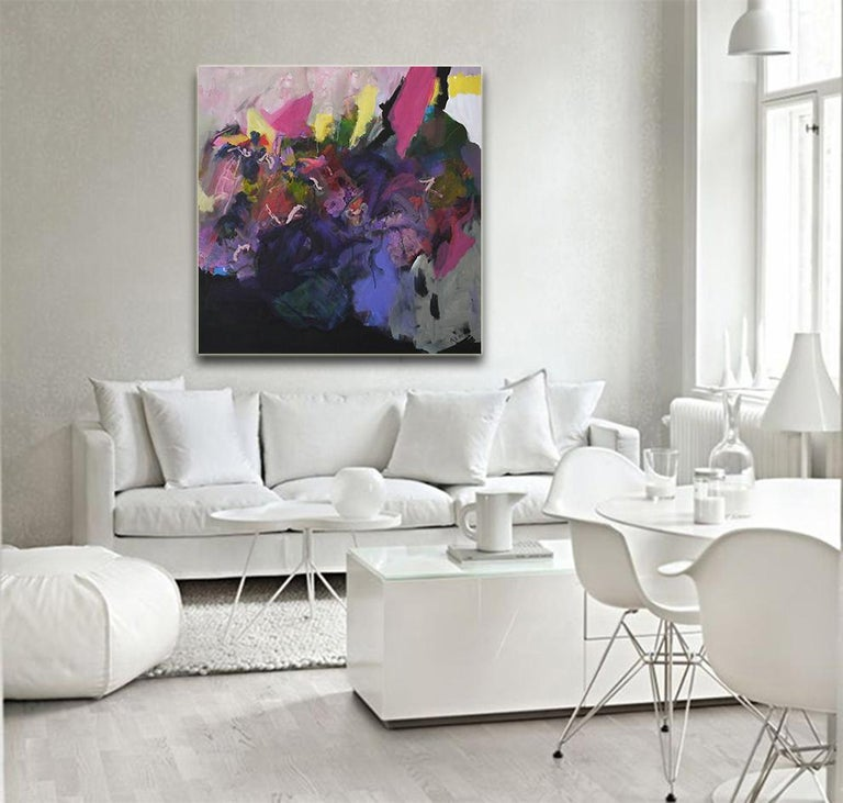 Personality - Abstract landscape / floral painting with pink, blue, black - Painting by Annette Jellinghaus