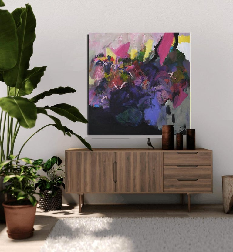 Personality - Abstract landscape / floral painting with pink, blue, black - Black Abstract Painting by Annette Jellinghaus