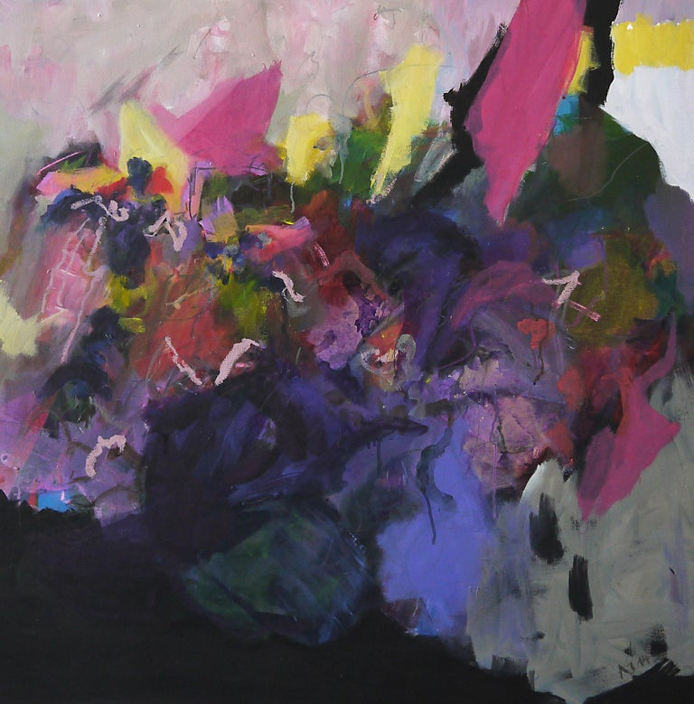 Annette Jellinghaus Abstract Painting - Personality - Abstract landscape / floral painting with pink, blue, black
