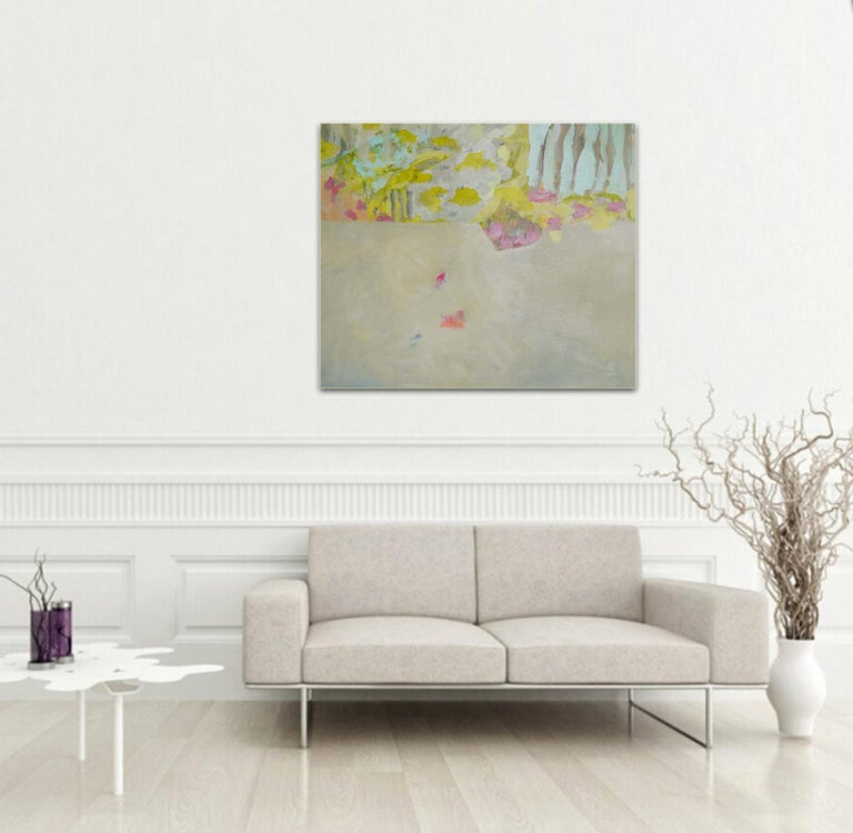 Soft Awakening - colorful Abstract landscape / contemporary  floral painting - Brown Interior Painting by Annette Jellinghaus
