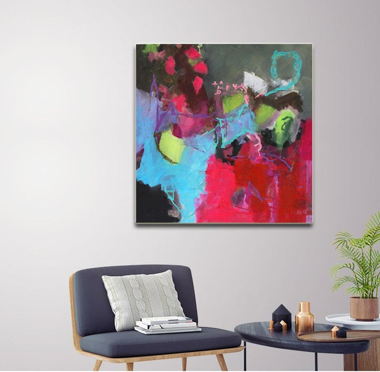 Surprise - colorful Abstract landscape / floral painting with pink, green, black - Brown Interior Painting by Annette Jellinghaus
