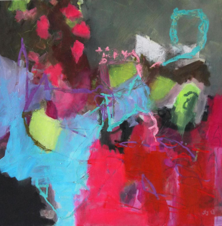 Annette Jellinghaus Interior Painting - Surprise - colorful Abstract landscape / floral painting with pink, green, black