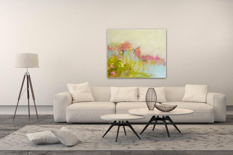 The Simple Things - colorful Abstract landscape / contemporary  floral painting - Painting by Annette Jellinghaus