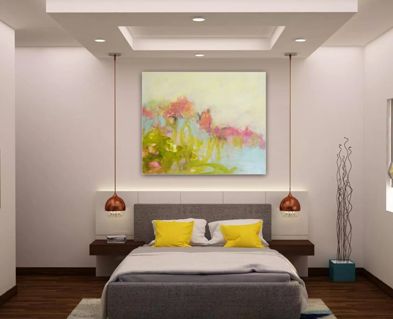 The Simple Things - colorful Abstract landscape / contemporary  floral painting - Beige Interior Painting by Annette Jellinghaus