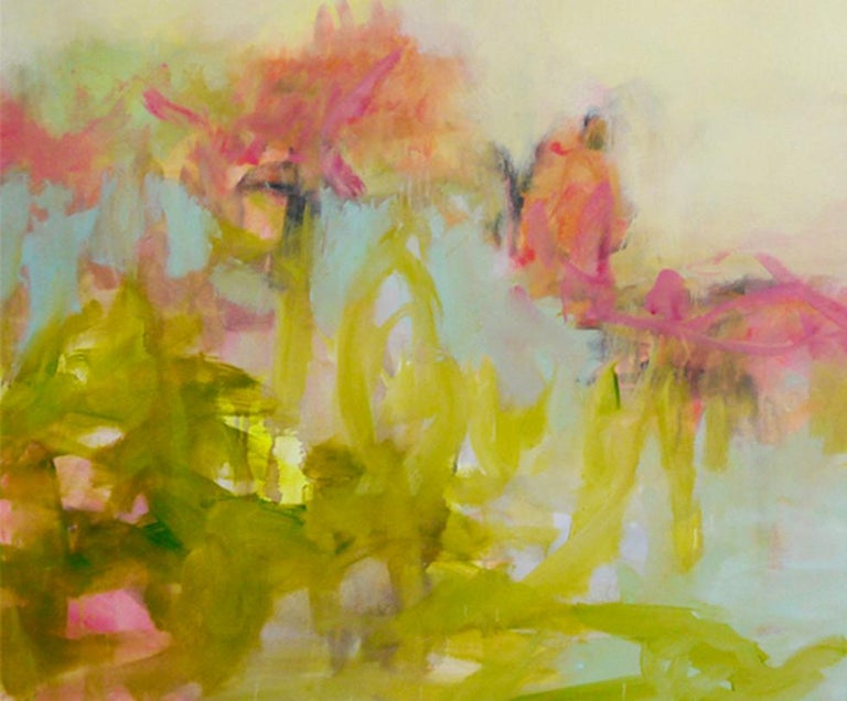 The Simple Things - colorful Abstract landscape / contemporary  floral painting For Sale 1